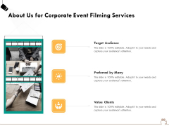 Social Gathering Movie Making About Us For Corporate Event Filming Services Formats PDF