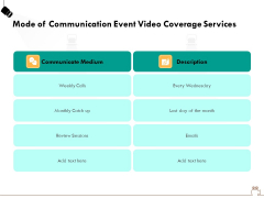 Social Gathering Movie Making Mode Of Communication Event Video Coverage Services Brochure PDF