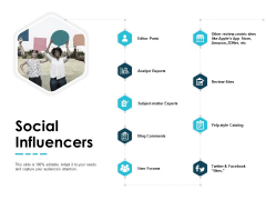 Social Influencers Analyst Reports Blog Comments Ppt PowerPoint Presentation Gallery Background