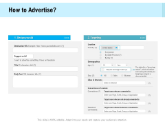 Social Media Advertisement How To Advertise Ppt Icon Brochure PDF