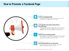 Social Media Advertisement How To Promote A Facebook Page Ppt Infographic Template Images PDF