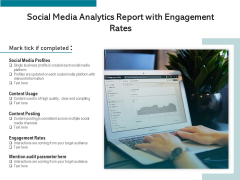 Social Media Analytics Report With Engagement Rates Ppt PowerPoint Presentation File Objects PDF