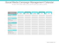 Social Media Campaign Management Calendar Ppt PowerPoint Presentation Clipart