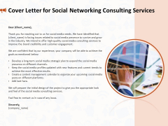 Social Media Consultancy Cover Letter For Social Networking Consulting Services Ideas PDF