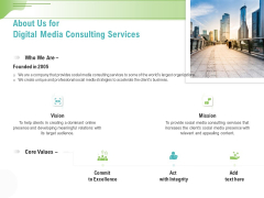 Social Media Consulting About Us For Digital Media Consulting Services Ppt Infographics Deck PDF