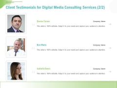 Social Media Consulting Client Testimonials For Digital Media Consulting Services Audience Diagrams PDF