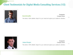 Social Media Consulting Client Testimonials For Digital Media Consulting Services Icons PDF