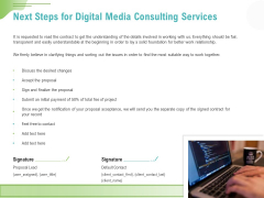 Social Media Consulting Next Steps For Digital Media Consulting Services Ppt Gallery Slide PDF