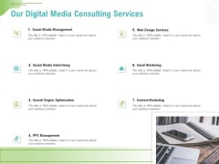 Social Media Consulting Our Digital Media Consulting Services Ppt Gallery Infographics PDF