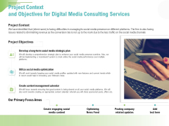 Social Media Consulting Project Context And Objectives For Digital Media Consulting Services Demonstration PDF