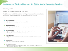Social Media Consulting Statement Of Work And Contract For Digital Media Consulting Services Slides PDF