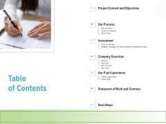 Social Media Consulting Table Of Contents Ppt File Slides PDF