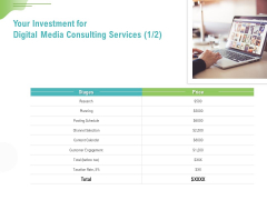 Social Media Consulting Your Investment For Digital Media Consulting Services Planning Professional PDF