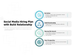 Social Media Hiring Plan With Build Relationship Ppt PowerPoint Presentation Layouts Master Slide