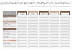 Social Media Lead Generation Plan Powerpoint Slide Influencers