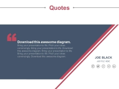 Social Media Links With Business Information Quotes Powerpoint Slides