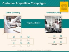 Social Media Marketing Budget Customer Acquisition Campaigns Ppt Outline Grid PDF