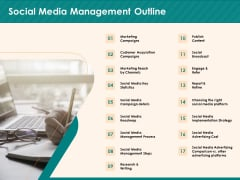 Social Media Marketing Budget Social Media Management Outline Ppt Infographic Template Graphics Pictures PDF
