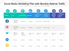 Social Media Marketing Plan With Monthly Referral Traffic Ppt PowerPoint Presentation Inspiration Layout PDF