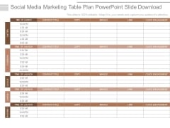 Social Media Marketing Table Plan Powerpoint Slide Download