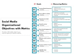 Social Media Organizational Objectives With Metrics Ppt PowerPoint Presentation Inspiration Example Introduction PDF