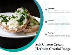 Soft Cheese Cream Herbs In Crostini Image Ppt PowerPoint Presentation Icon Background PDF