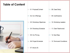 Soft Skill And Personal Development Table Of Content Ppt Ideas Deck PDF