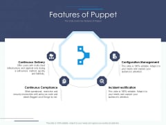 Software Configuration Management And Deployment Tool Features Of Puppet Ppt File Inspiration PDF