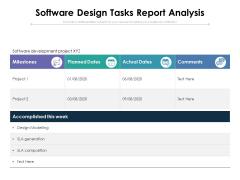 Software Design Tasks Report Analysis Ppt PowerPoint Presentation Pictures Portfolio PDF