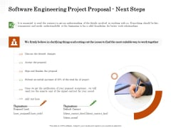 Software Engineering Project Proposal Next Steps Ppt Icon Example PDF
