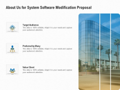 Software Maintenance About Us For System Software Modification Proposal Ppt PowerPoint Presentation Summary Graphic Tips PDF