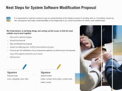 Software Maintenance Next Steps For System Software Modification Proposal Ppt PowerPoint Presentation Professional Demonstration PDF