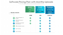 Software Pricing Plan With Monthly Uploads Ppt Show Background PDF