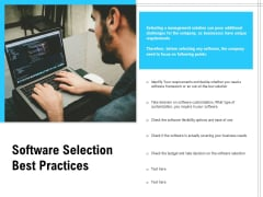 Software Selection Best Practices Ppt PowerPoint Presentation Styles Graphics Pictures PDF