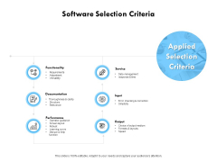 Software Selection Criteria Performance Ppt PowerPoint Presentation Inspiration Example