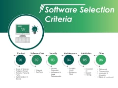 Software Selection Criteria Ppt PowerPoint Presentation Icon Rules