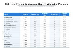 Software System Deployment Report With Initial Planning Ppt PowerPoint Presentation Gallery File Formats PDF
