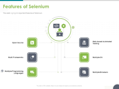 Software Testing Framework For Learners Features Of Selenium Ppt PowerPoint Presentation File Format Ideas PDF