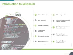 Software Testing Framework For Learners Introduction To Selenium Ppt PowerPoint Presentation File Graphics Example PDF