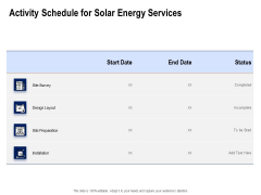 Solar Panel Maintenance Activity Schedule For Solar Energy Services Ppt Gallery Aids PDF