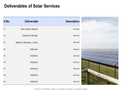 Solar Panel Maintenance Deliverables Of Solar Services Ppt Icon Example File PDF