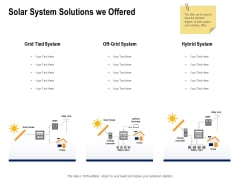 Solar Panel Maintenance Solar System Solutions We Offered Ppt Layouts Samples PDF