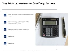 Solar Panel Maintenance Your Return On Investment For Solar Energy Services Ppt File Background Images PDF