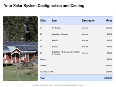 Solar Panel Maintenance Your Solar System Configuration And Costing Ppt Icon Layouts PDF