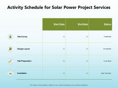 Solar Power Plant Technical Activity Schedule For Solar Power Project Services Clipart PDF