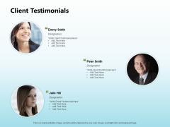 Solar Power Plant Technical Client Testimonials Ppt Portfolio Visual Aids PDF