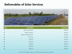 Solar Power Plant Technical Deliverables Of Solar Services Sample PDF
