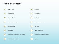 Solar Power Plant Technical Table Of Content Designs PDF