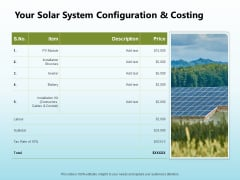 Solar Power Plant Technical Your Solar System Configuration And Costing Brochure PDF
