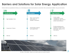 Solar System Implementation And Support Service Barriers And Solutions For Solar Energy Application Graphics PDF